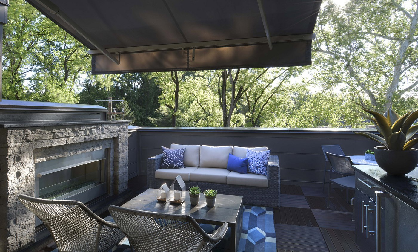 Rooptop terraces include options for outdoor fireplace, built-in gas grill, retractable awning, and much more