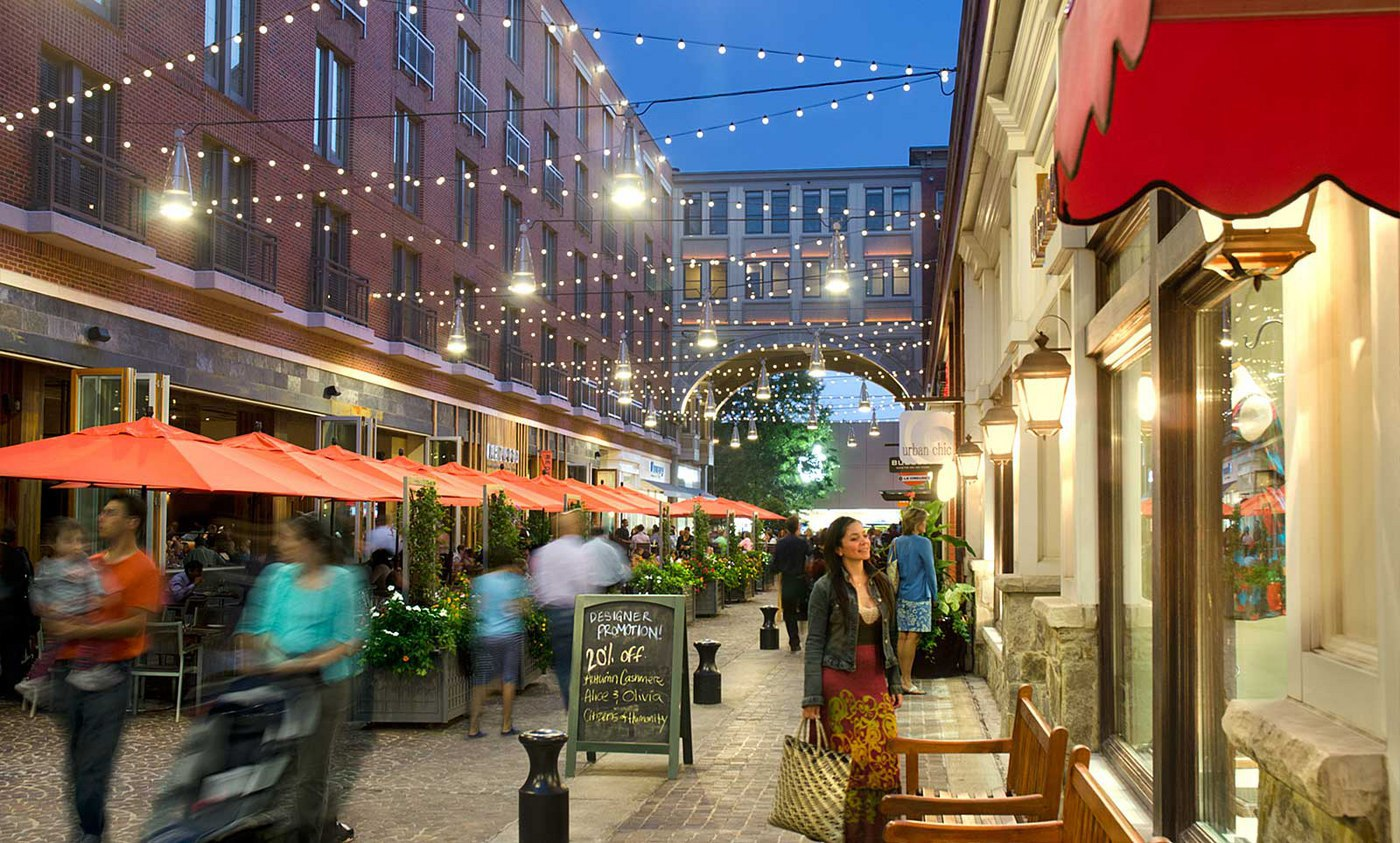 Shop and dine at downtown Bethesda, nearby to EYA's homes for sale in Maryland